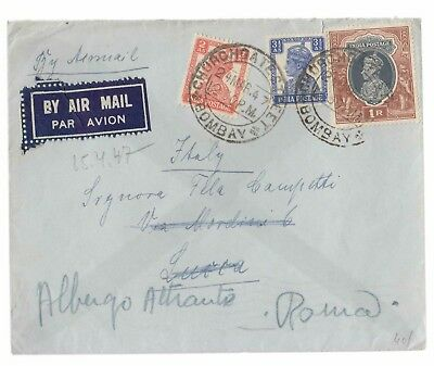 1947 INDIA AIR MAIL to ITALY+correct ADDRESS+R.1+AS 2+AS 3 1/2-M928