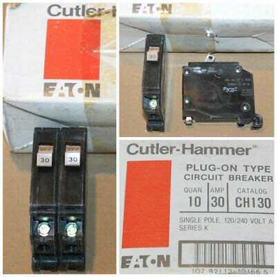 Lot of 2 New Cutler-Hammer CH130 Single Pole 30 Amp Circuit Breakers NOS