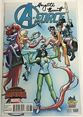 A-Force#1 Nm 2016 Midtown Variant Signed With Coa Marvel Comics