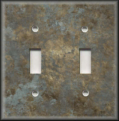 Light Switch Plate Cover - Image Of Aged Metal Gold Silver Home Decor Rustic