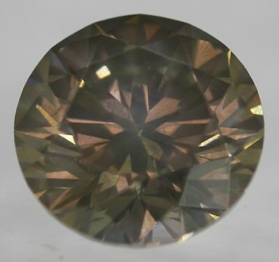 Cert 0.57 Carat Fancy Brown SI1 Round Brilliant Natural Loose Diamond 5.26mm 3EX