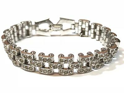 Beautiful Ladies Sterling Silver CZ Chainlink Bracelet - Take A Look! - Signed
