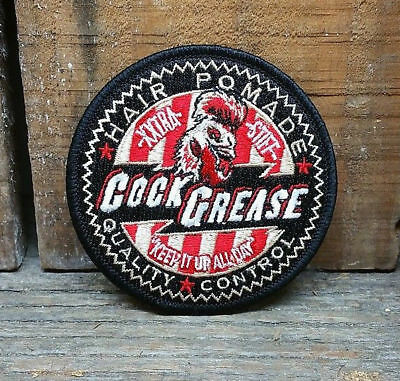 Cock Grease Hair Pomade Patch Jacket Hat Rat Hot Rod Rockabilly Wax Product Vlv