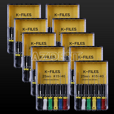 50 Packs Dental Stainless Steel Endo K-Files 25mm 15#-40# Hand Use 6pcs/Pack CA