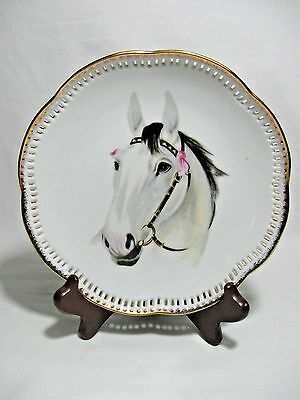 Ucago White Black Horse Collector Plate-Sculpted Edge-Gold Trim-Vtg
