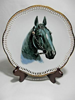 Ucago Gray Black Horse Collector Plate-Sculpted Edge-Gold Trim-Vtg