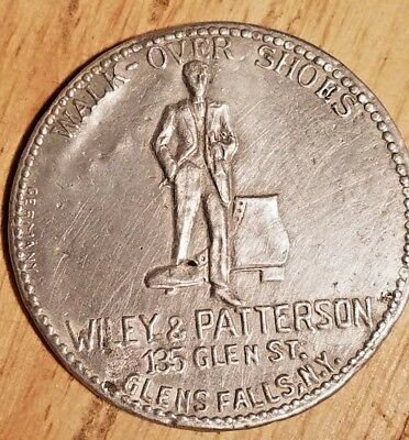 Antique WALK-OVER SHOES Wiley Paterson GLENS FALLS NY Advertising Pocket Mirror