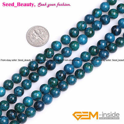 """8mm Green Round Chrysocolla Loose Beads for Jewelry Making Strand 15"""""""