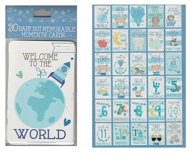 Pack Of 30 Babies 1st Year Memorable Moments Milestone Cards Baby Shower - Boy