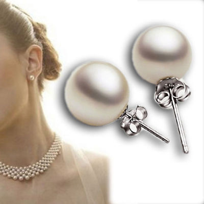 Hot New Fashion Silver Plated White Pearl Ear Stud Studs Earrings Women Lady