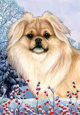 Large Indoor/Outdoor Winter Flag - Cream Tibetan Spaniel 15475