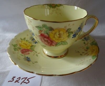 COLLINGWOODS Cup & Saucer Yellow with flowers ENGLISH bone china