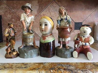 Antique German Statue Terra Cotta Folk Art Rare Cuckoo Clock Style Girl Boy Set