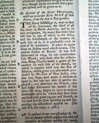 Early 18th Century MISSISSIPPI RIVER Exploration Description 1761 Old Magazine