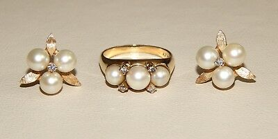 Beautiful 14k Solid Yellow Gold Pearl & Diamond Accent Ring (6) & Earrings Set