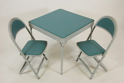The Durham Line Child's Folding Table #31 & 2 Chairs Sturdy Retro Vintage Metal