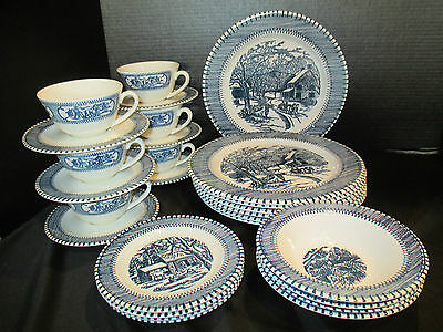 Currier & Ives Country Life Print By Knowles 27 Piece 7 Dinner Plates More