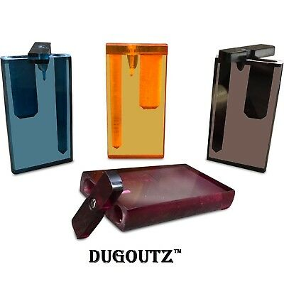 RED See Thru Translucent Dugout Tobacco Smoking Pipe Kit Metal Cigarette Bat