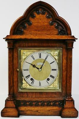 Antique English 8 Day Carved Oak Musical Ting Tang 1/4 Striking Bracket Clock