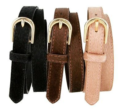 "Women's Skinny Thin Genuine Leather Hair-On Belt 3/4"" Wide Black Brown Tan"