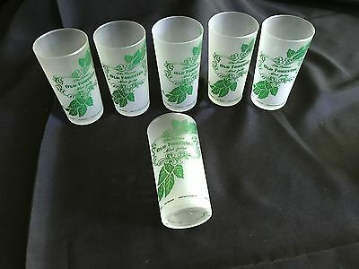 Kentucky Derby Old Forester Mint Julip Frosted Glass Tumbler Set Of 6 Nos