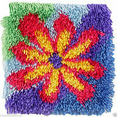 Flower Power Shaggy Longer length Latch Hook Kit 30x30cm Caron Wonderart