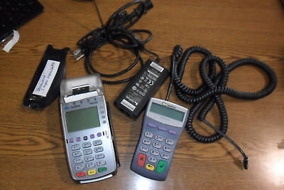Verifone VX520 Credit Card Terminal With Chip Reader Key Pad Power supply plug