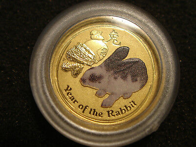 """2011 Australia 5 Dollars 1/20 oz 9999 Gold Year of the Rabbit """"IN COLOR"""""""