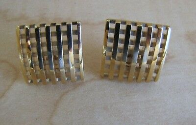 Pair of Beautiful Vintage Gold Toned Square Earrings for Pierced Ears