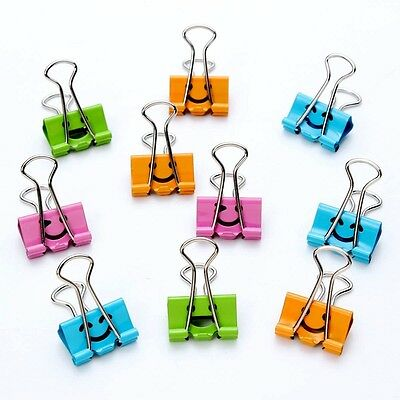 10Pcs 19mm Hollow Smile Metal Binder Clips File Paper Organizer Long Tail Clips