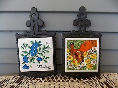 Lot of 2 Vintage Cast Iron & Ceramic Trivets Hot Plates Kitchen Wall Decor