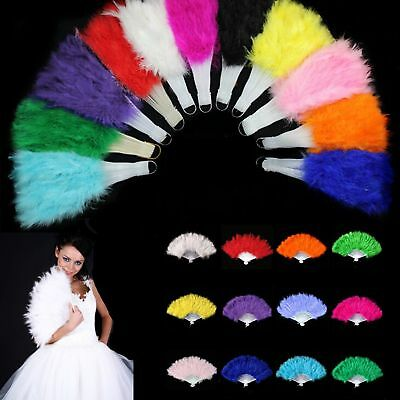 Beautiful Feather Hand Fan Burlesque Costume Accessory Feather Folding Fans