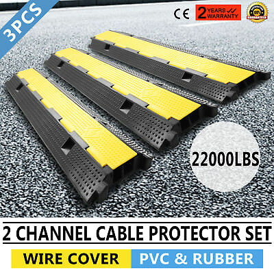 3pcs 2-Cable Rubber Electrical Wire Cover Protector Snake Black Ramp NEWEST