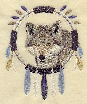 Embroidered Long-Sleeved T-Shirt - Wolf Dream Catcher A4821 Sizes S - XXL
