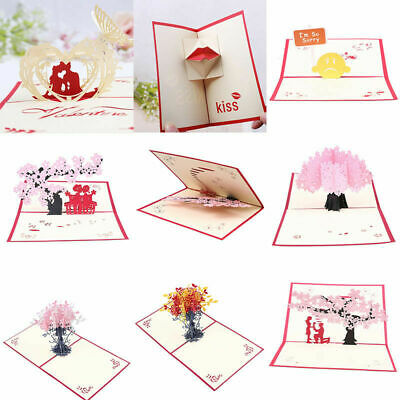 8-Style 3D Pop Up Card Wedding Valentine Anniversary Greeting Invitations Cards