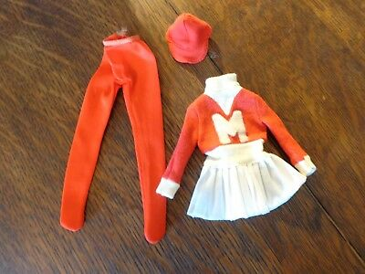 Vintage Barbie Francie Get Ups N Go Guag Cheerleader Dress Hat Tights Exc #7711