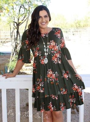 a11b725989b Plus Size Olive Floral Babydoll Tiered Ruffle Bell Sleeve Dress Usa 1X 2X 3X