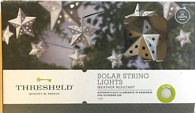 Threshold 20 Silver Star Solar String Lights Weather Resistant Outdoor NEW