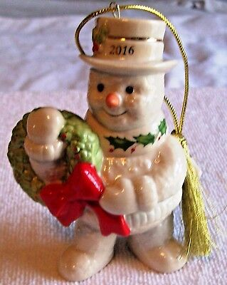 Lenox  2016 Happy Holly Days Snowman  Annual Christmas  Ornament New In Box, $60