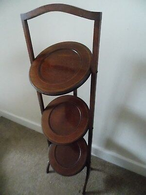 Antique Victorian 3 tier folding English wooden cake stand. 1890's. Exc cond