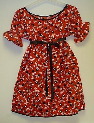 VINTAGE 1970's UNWORN GIRLS RED & BLACK FLORAL PATTERNED DRESS AGE 6-7 YEARS