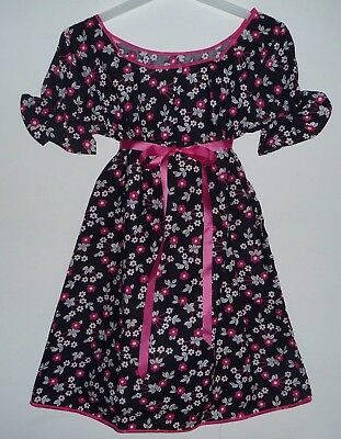 VINTAGE 1970's UNWORN GIRLS BLACK & PINK FLORAL PATTERNED DRESS AGE 7-8 YEARS