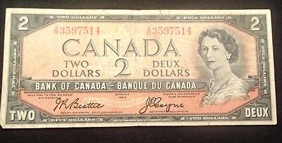 1954 Bank Of Canada Two Dollar Note Nice Uncirculated With Folds, Wrinles