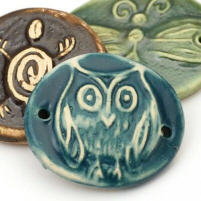3 artist ceramic handmade blue green owl dragonfly turtle 2 hole components