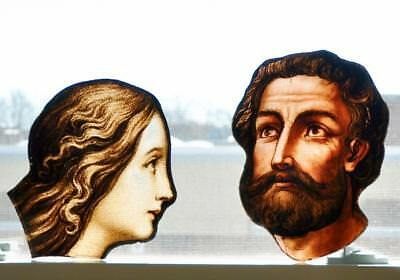Antique Stained Glass Of Mary And St Joseph. From An Old Church Window