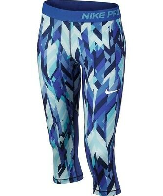 New Nike Youth Girls Pro Cool Dri-fit Capri Tights Large Blue White