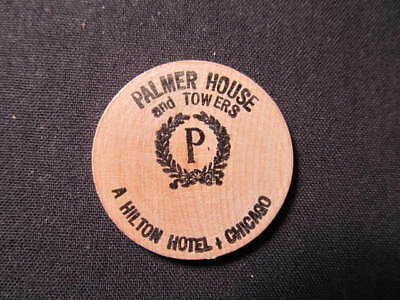 Chicago, Illinois Wooden Nickel Token - Palmer House and Towers Wood Coin-Hilton