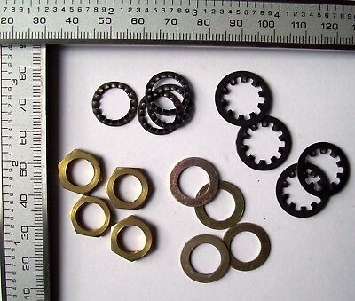4  Potentiometer Brass Nuts / Steel Washers / Large + Small Serrated Washers