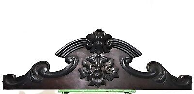 """Flower Crown Pediment 35"""" Antique French Hand Carved Wood Architectural Salvage"""