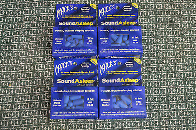 4 Packs Of 12 Pair - Mack's Sound Asleep Soft Foam Earplugs - Blue